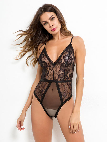 f1619352c213 Black V-neck Floral Lace See-through Mesh Bodysuit Teddy