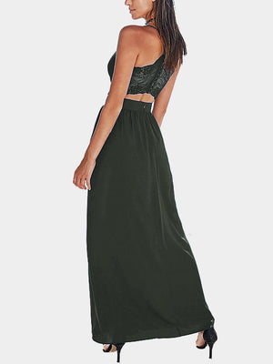 Opening Split With Lace Trim Maxi Skirts In Army