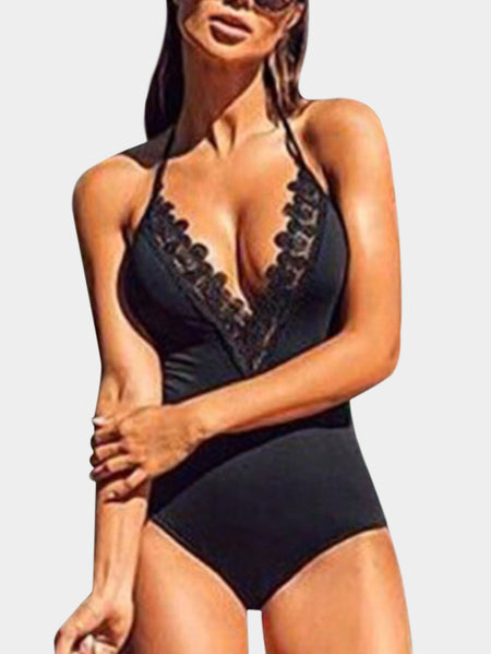 Black Backless V-neck Sleeveless Bodysuit Swimwears