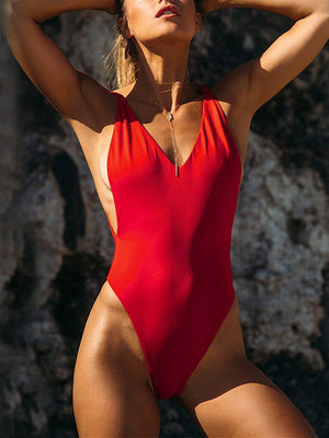 Padded Deep V Neck Bodysuit Swimwears