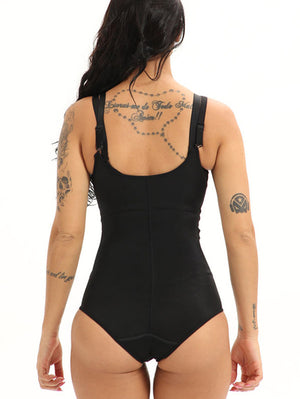 Black Zip Front Shapewear Bodysuit