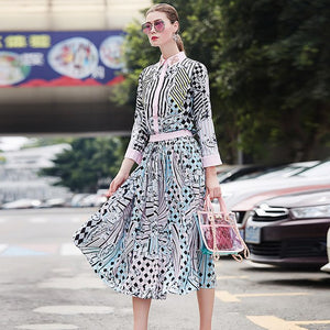 female outfit 2018 autumn/winter splicing manually set auger lapel striped shirt + loose pleated skirt two piece