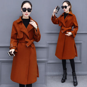 new coat woman long clothes winter women's casual clothing over-the-knee woolen vestidos coats with belt lady outfit size M-3XL