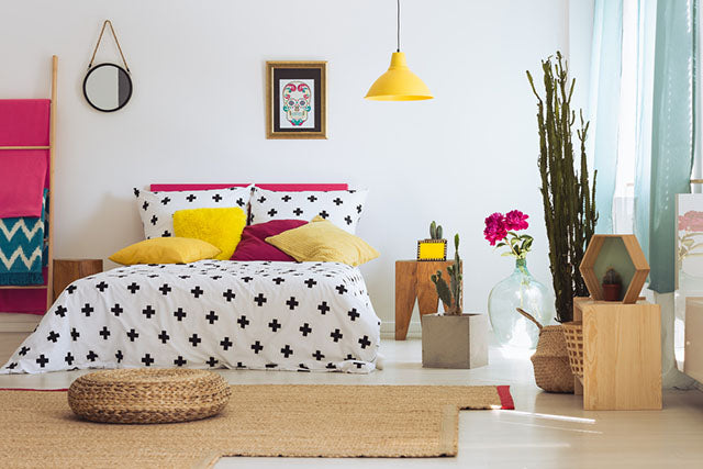 bedroom with bright decor