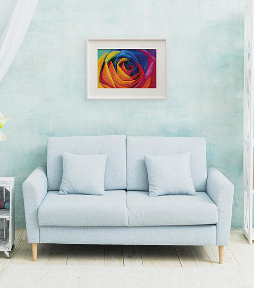couch with framed art above