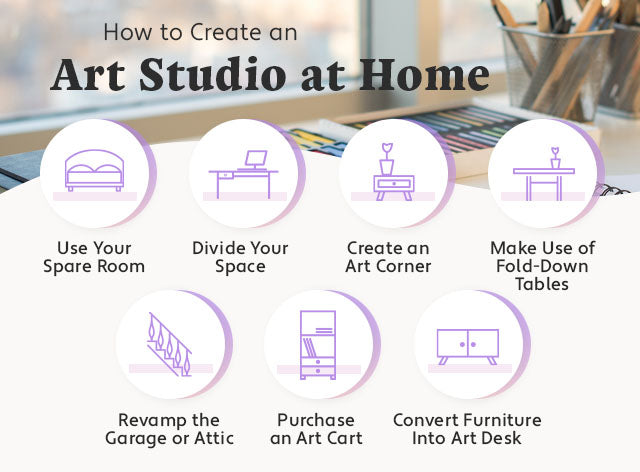 how to create an art studio at home graphic