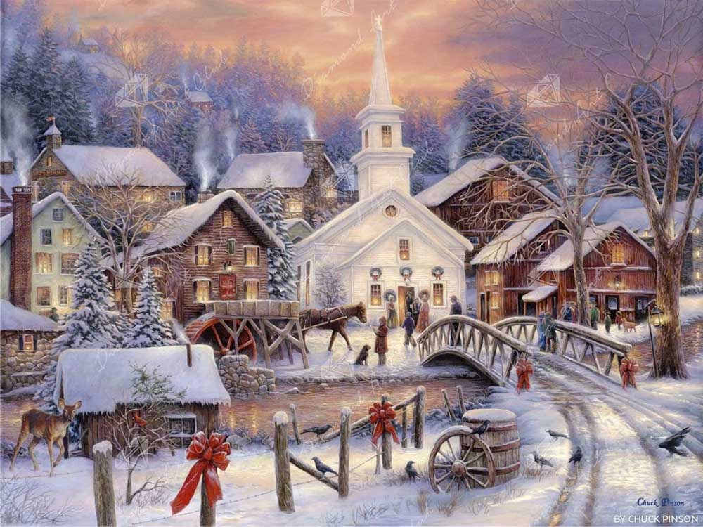painting of busy snowy village