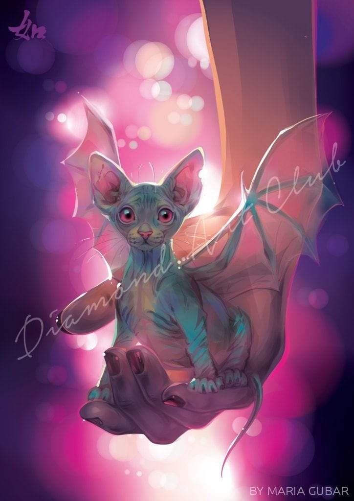 "Diamond Painting Cat Bat Square / 15.7"" x 22.6"" (42cm x 60cm) / 35 Colors"