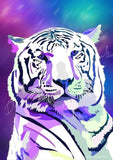 Diamond Painting Galaxy Tiger Round With Aurora Borealis Accents / 16.5″ x 23.6″ (42cm x 60cm) / 28 Colors including 1 AB