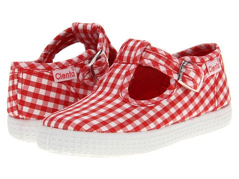 Cienta 51007 Red Gingham T- Strap