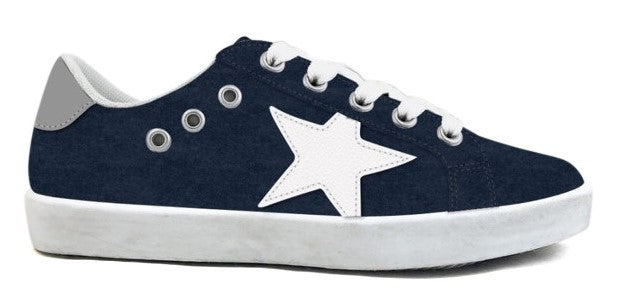 Hoo Navy Suede Mia Lace Up/Zipper Sneaker