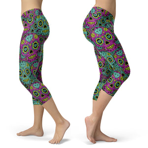 Purple and Blue Sugar Skull Capris