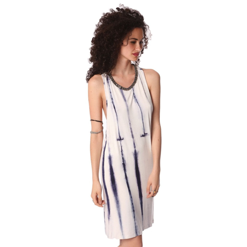 Blue slip dress in tie dye
