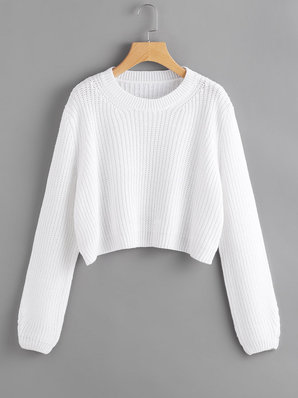 Ribbed Purl Knit Cropped Sweater Autumn Winter