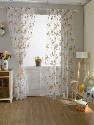 Flower Print Rod Pocket Sheer Curtain 1pc