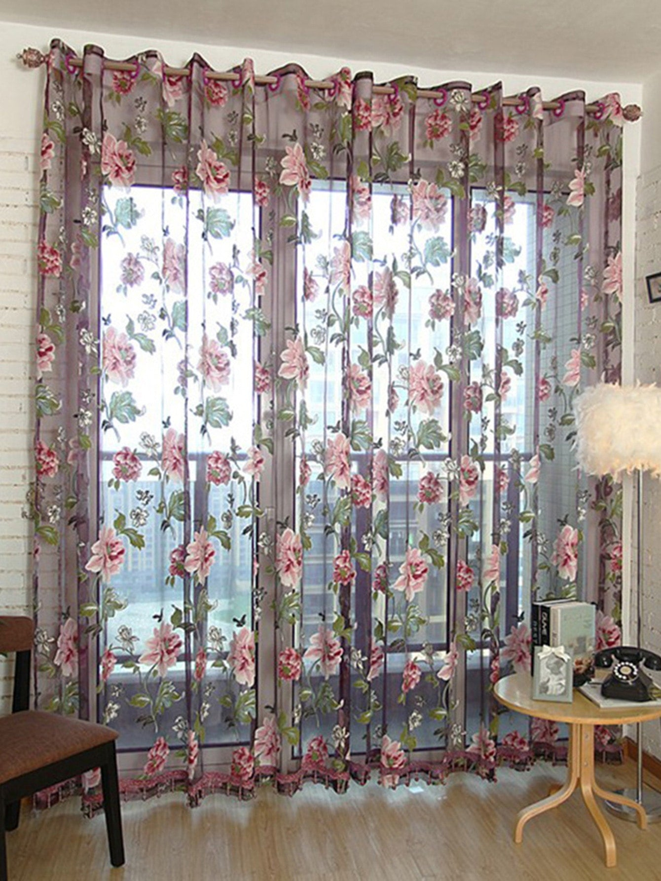 Flower Print Eyelet Sheer Curtain 1pc