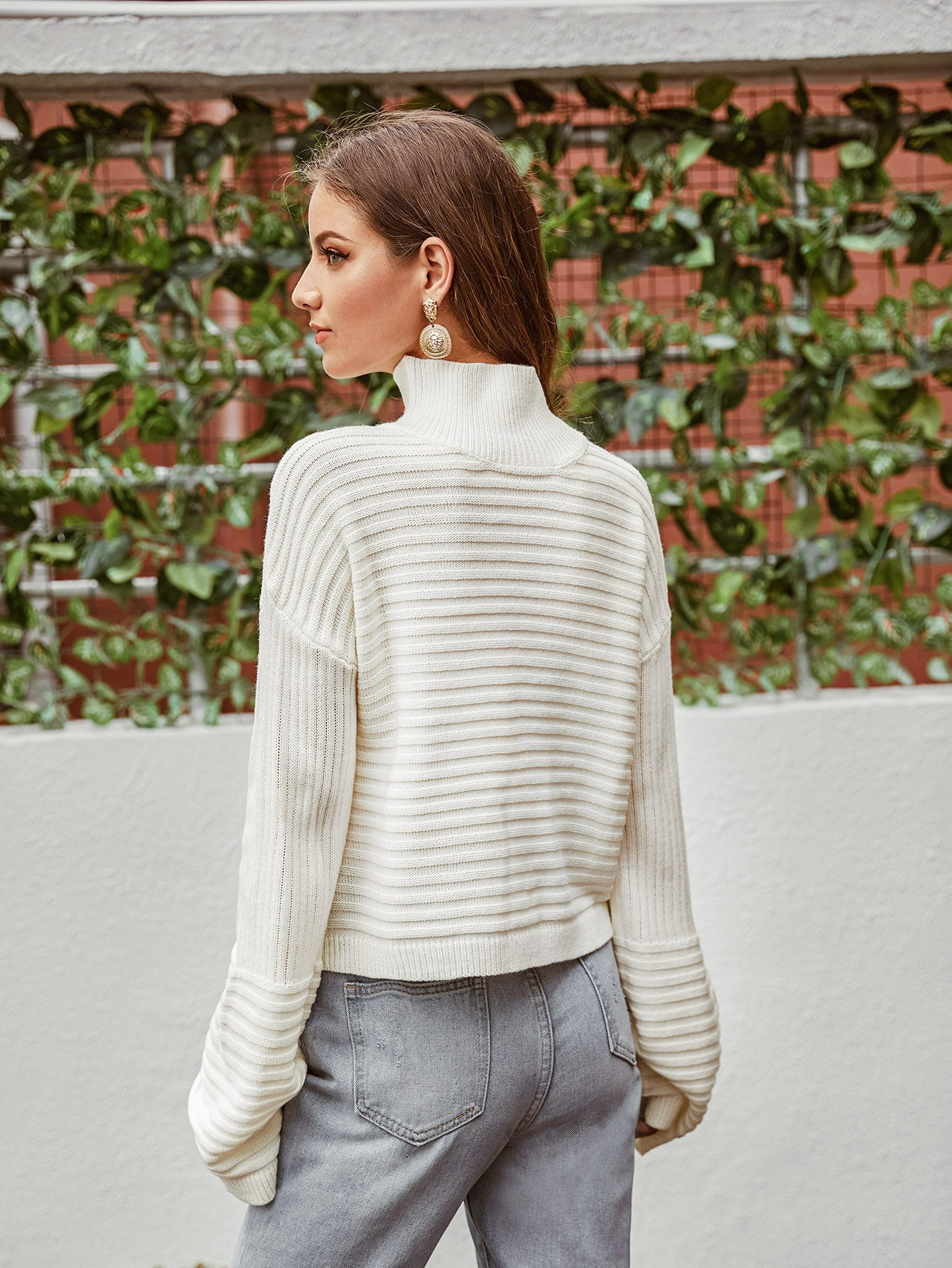High Neck Drop Shoulder Sweater Autumn Winter