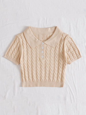 Half Button Cable Knit Crop Top Autumn Winter
