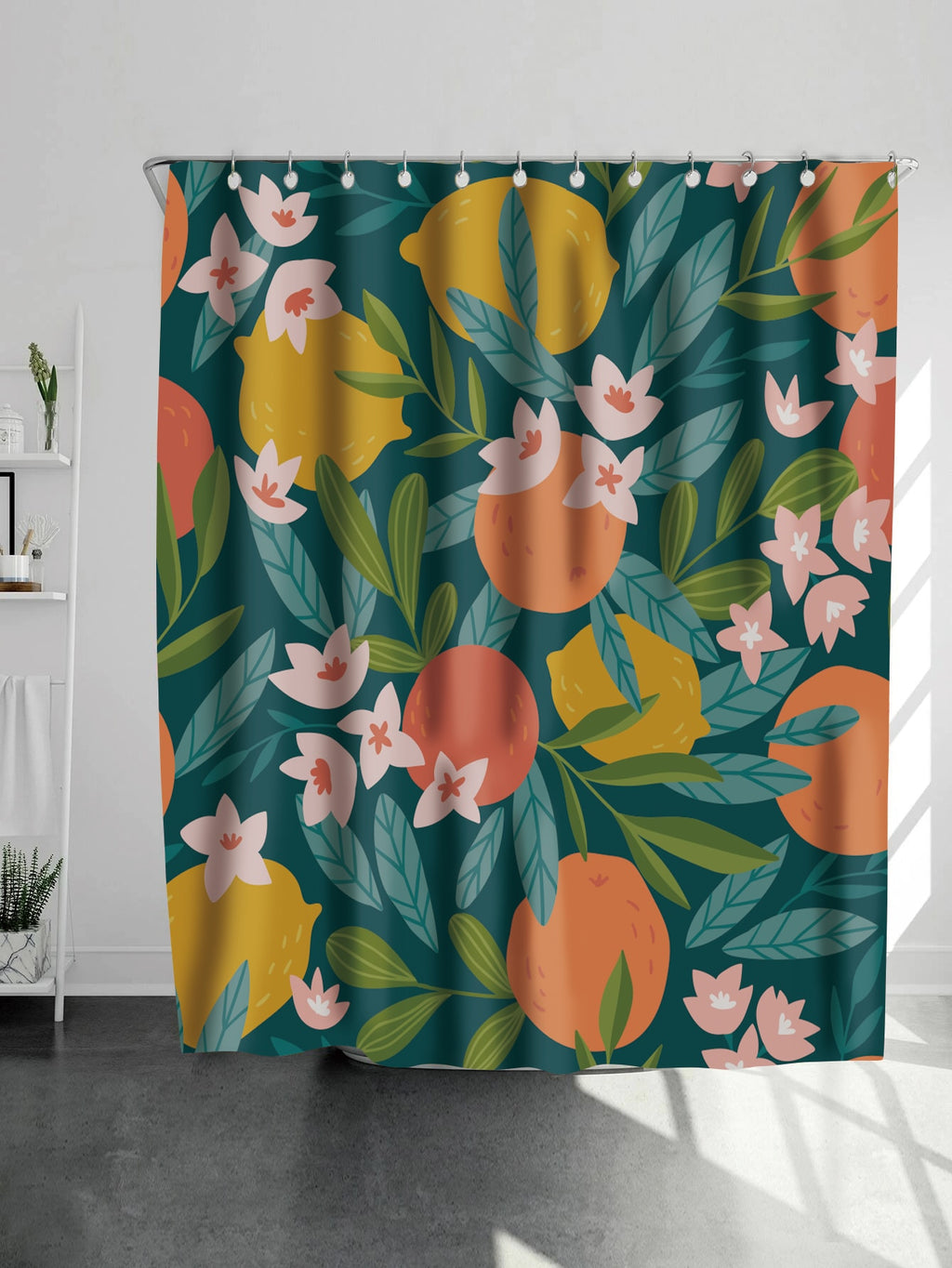Flower Print Shower Curtain With 12 hooks