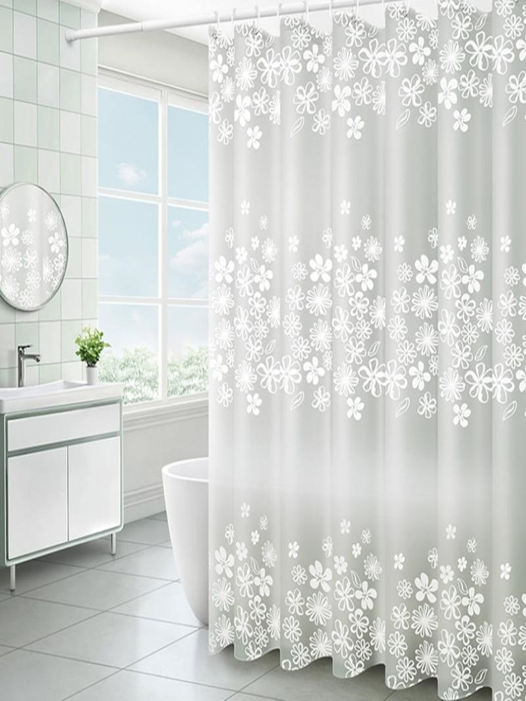 Flower Print Shower Curtain With 12pcs Hook
