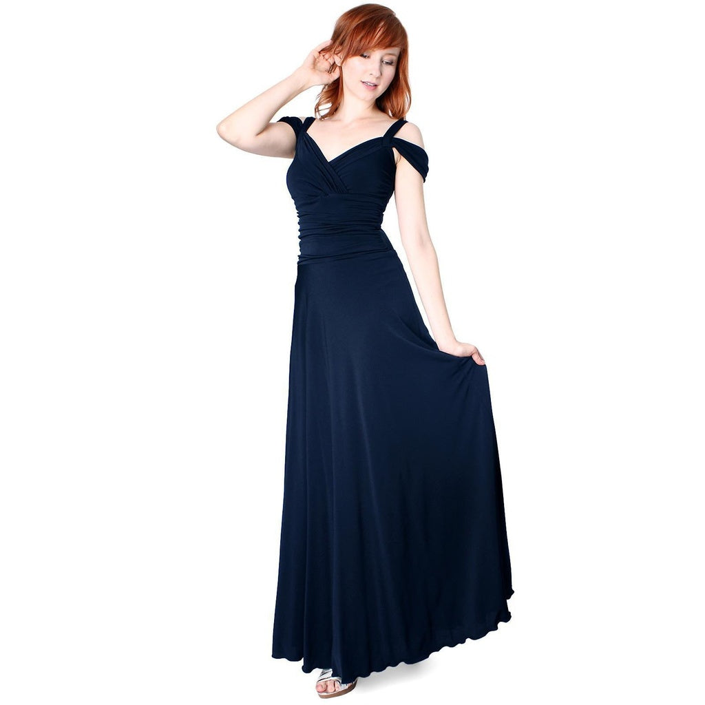 Evanese Women's Elegant Slip On Long Formal Evening Dress with Shoulder bands