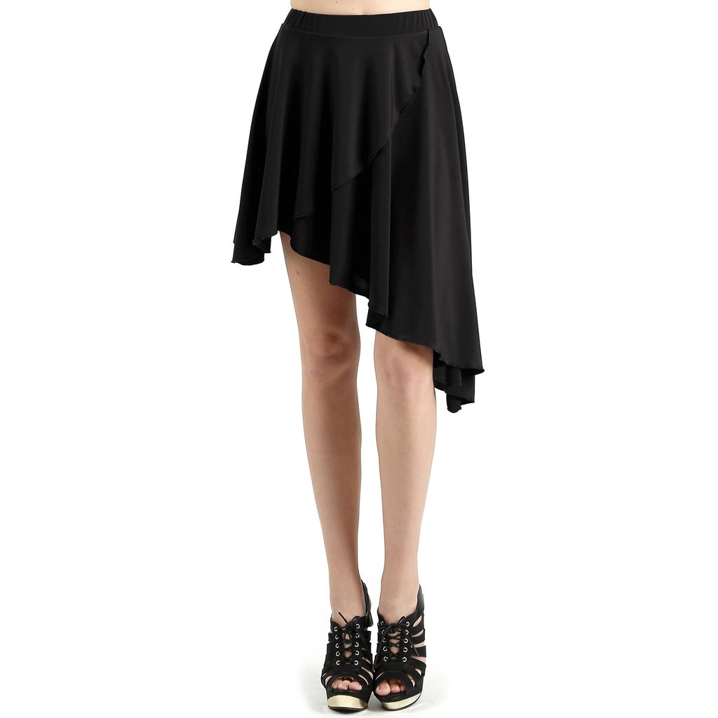 Evanese Women's Casual Asymmetrical Hi Low Contemporary Cocktail Turn Skirt