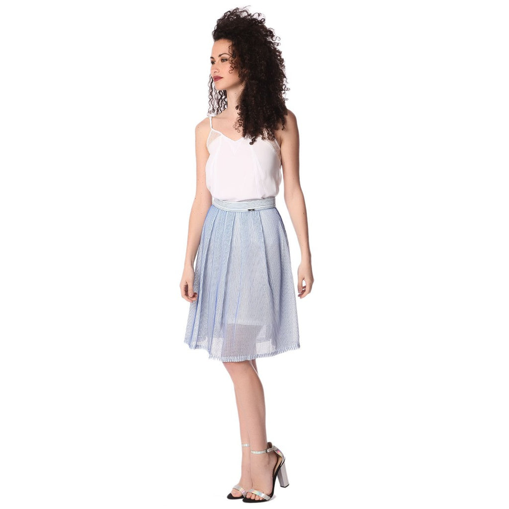 Blue mesh midi skirt with pleat detail