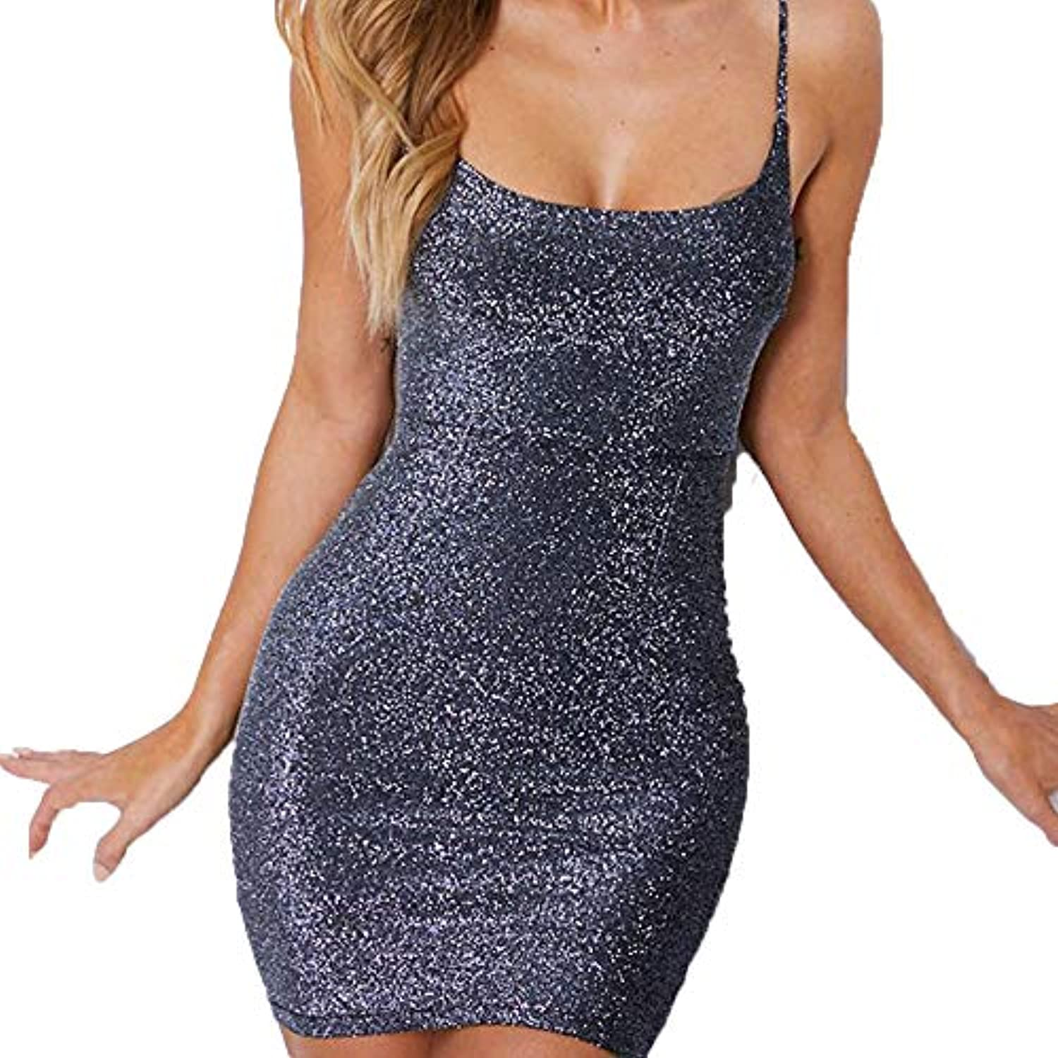 Chainmail Party Dress Women's Sexy Glitter Spagetti Straps Lace Up Back Bandage Bodycon Mini Club Party Dress