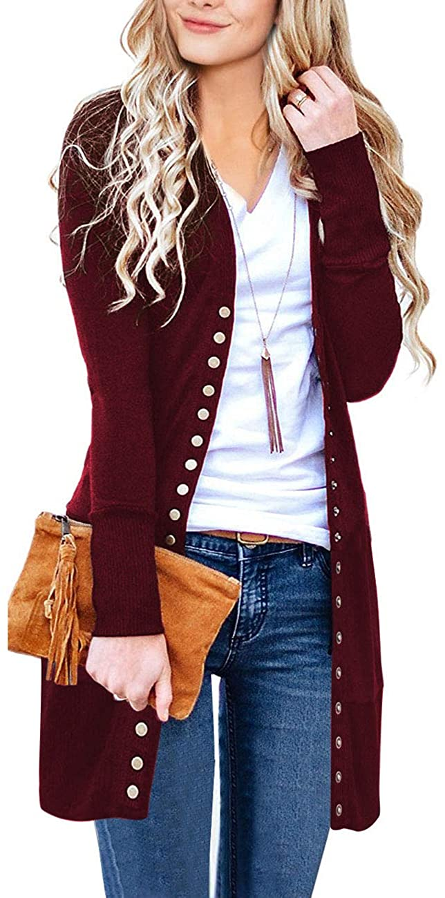 Women's Long Sleeve Snap Button Down Solid Color Knit Ribbed Neckline Cardigans Autumn Winter