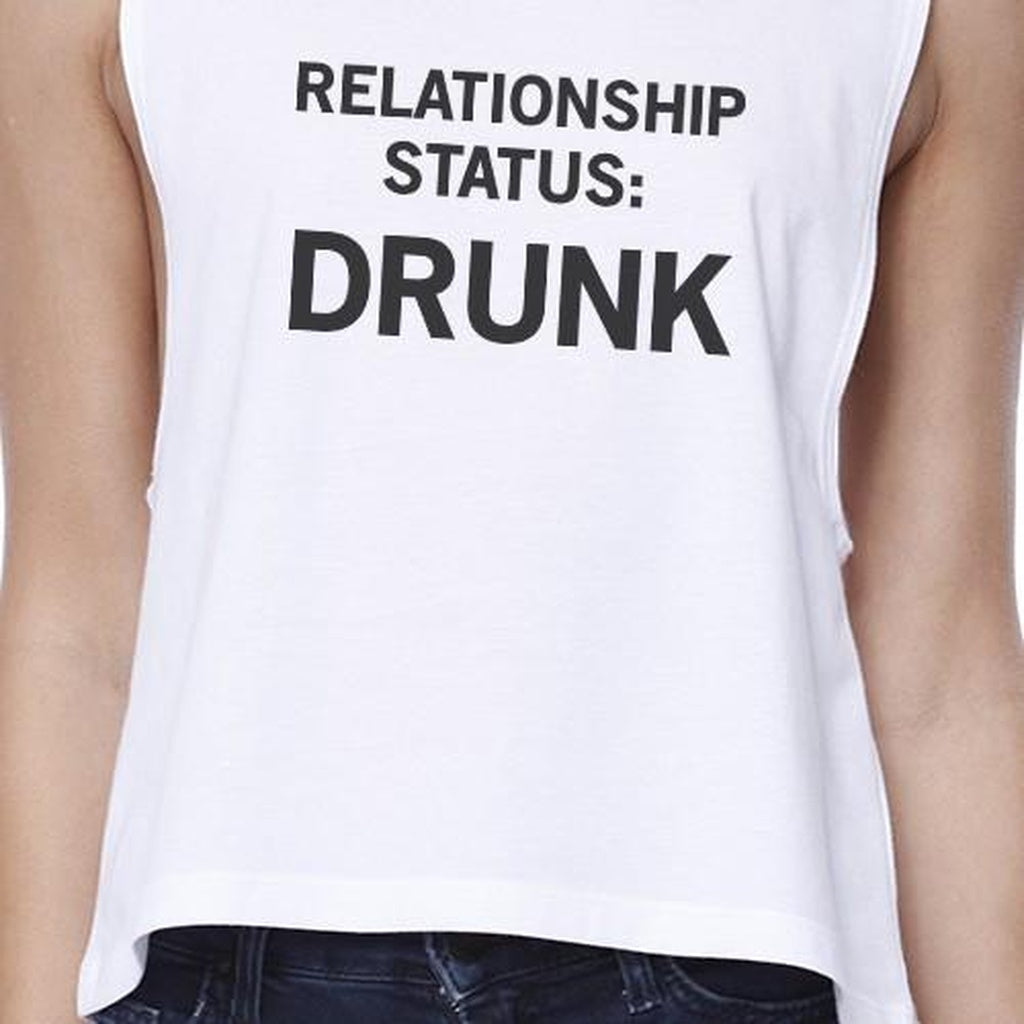 Relationship Status Womens White Crop Top For Women Funny Gift Idea - Bathing Suit Hub