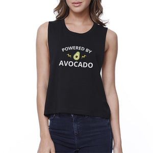 Powered By Avocado Womens Black Cute Design Crop Tee Unique Graphic - Bathing Suit Hub