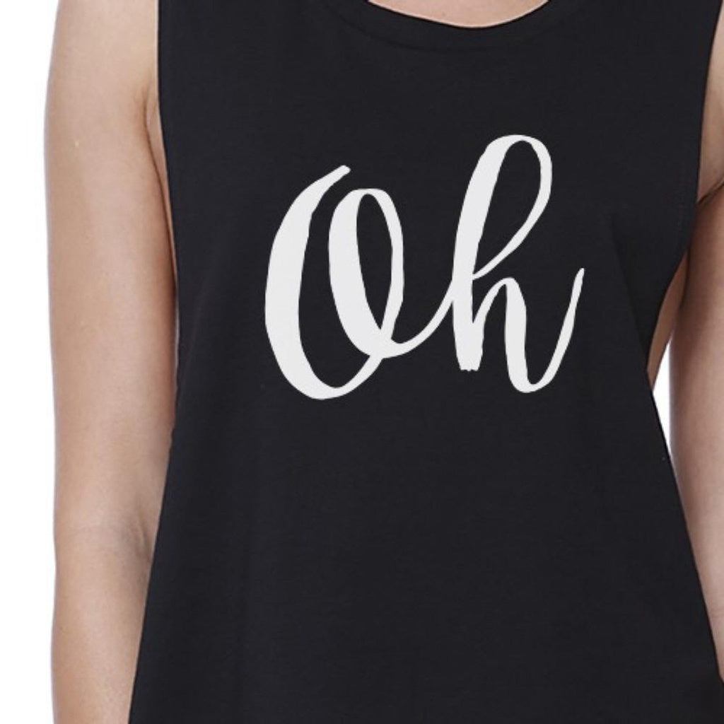 Oh Womens Black Sleeveless Crop Shirt Cute Calligraphy Workout Top - Bathing Suit Hub
