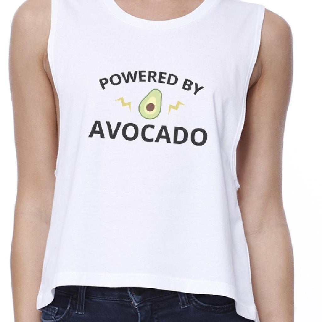 Powered By Avocado Womens White Graphic Crop Top Unique Design Tee - Bathing Suit Hub