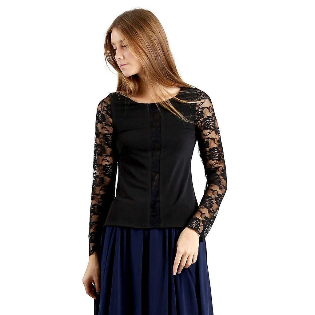 Evanese Women's Blouse Top with Long Lace Sleeves and Semi See Through Center