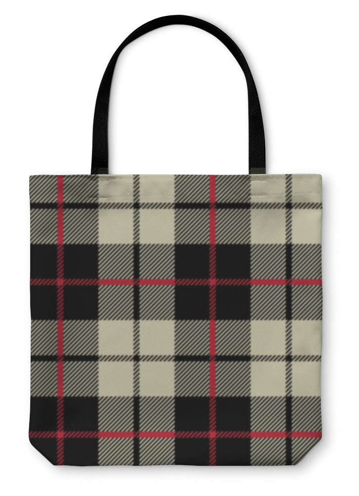 Tote Bag, Black And White Fabric In A Square Pattern
