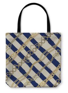 Tote Bag, Diagonal Plaid In Nautical Style Of The Strips And Chains And Ro