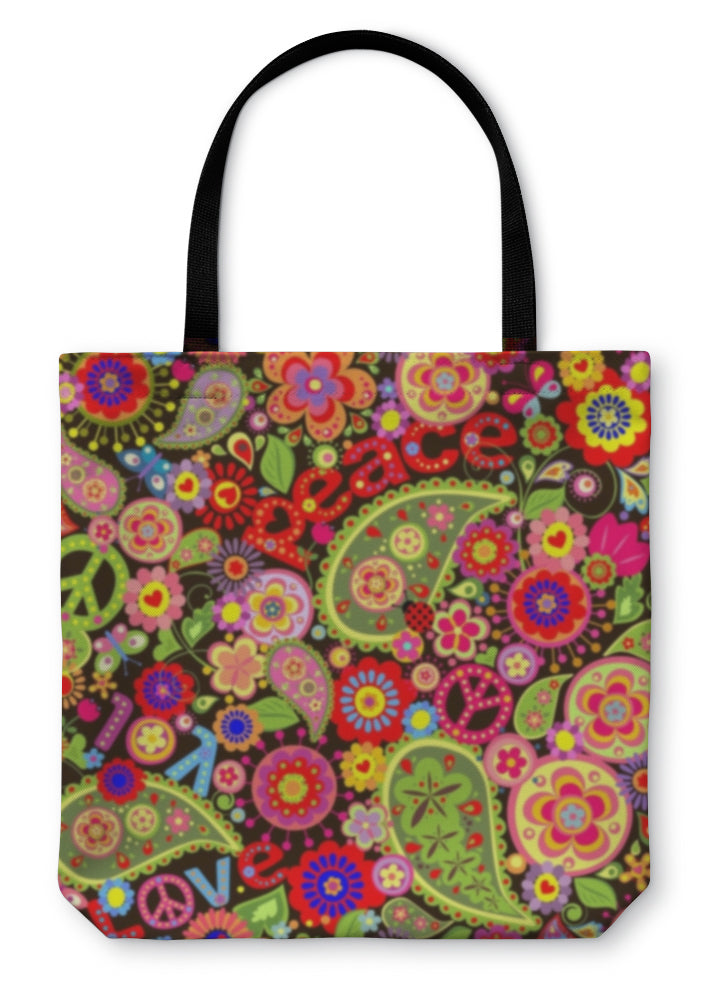 Tote Bag, Hippie Wallpaper With Colorful Spring Flowers And Paisley