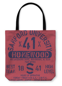 Tote Bag, Football Athletic Sport Samford Typography Tshirt Graphics S
