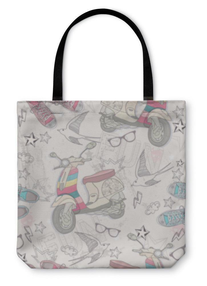 Tote Bag, Cute Grunge Abstract Pattern Pattern With Scooters