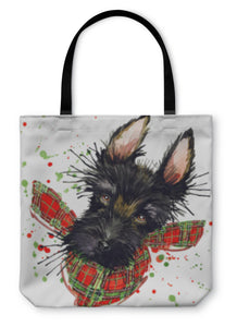 Tote Bag, Scotch Terrier Dog Tshirt Graphics Scotch Terrier Illustration With Splash