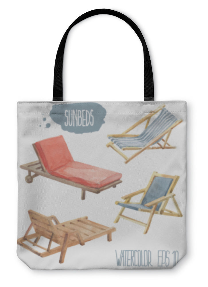 Tote Bag, Colorful Sunbeds Watercolor Illustration