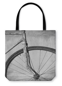Tote Bag, Old Rusty Bicycle Black And White Photo