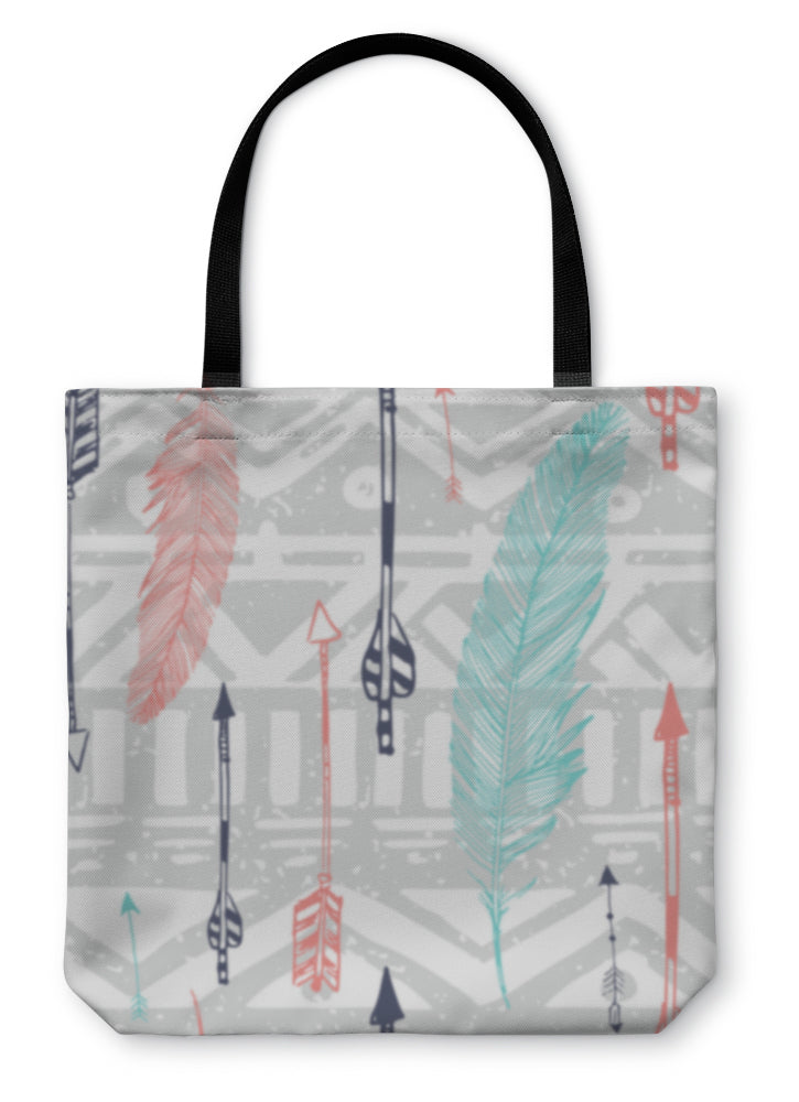 Tote Bag, Aztec Tribal Pattern With Feather And Arrows In