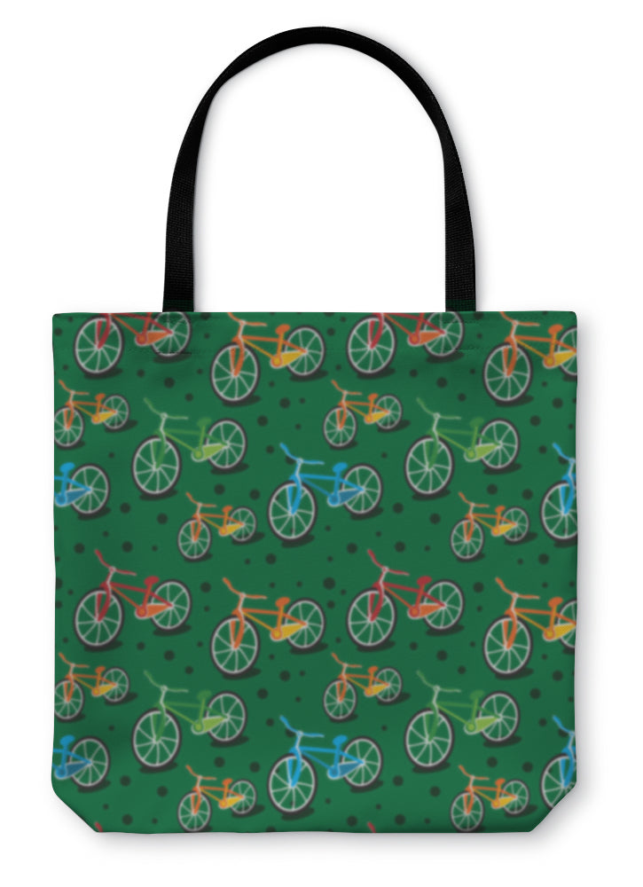 Tote Bag, Bright Bicycle Pattern