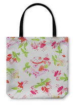 Tote Bag, Chinese Fuchsia And Lucky Cats Sitting On The Pillows