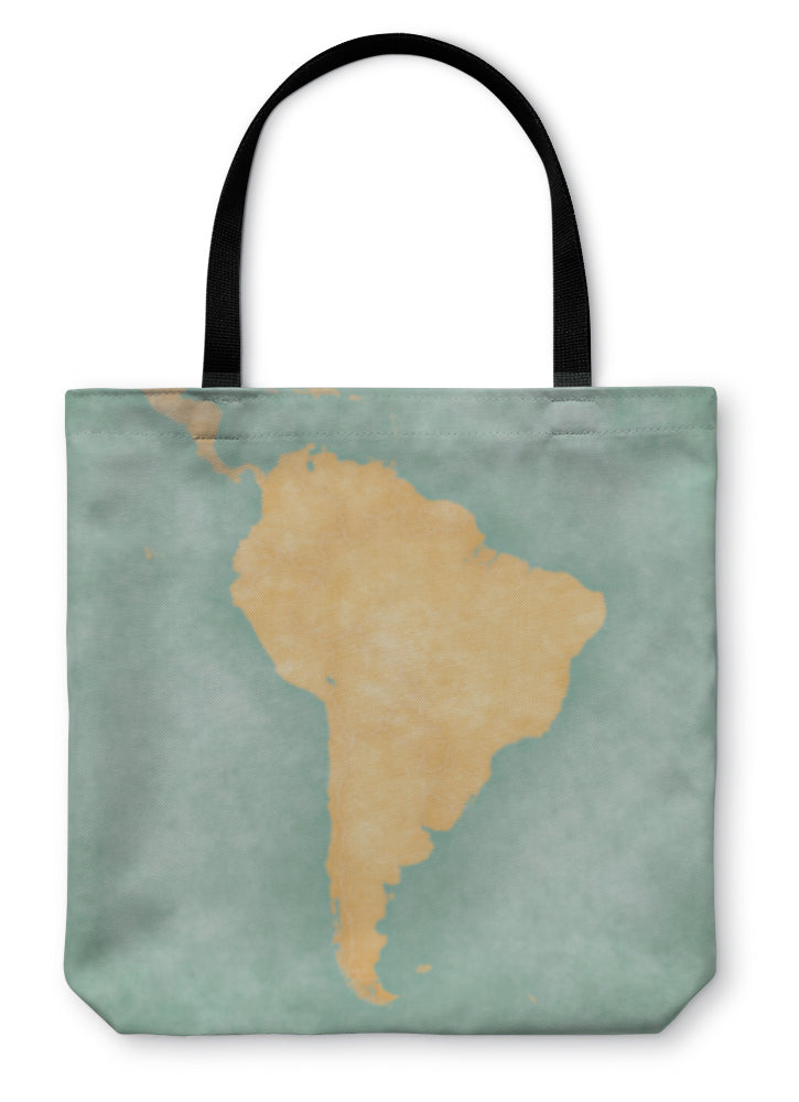 Tote Bag, Map Of South America Blank Map Vintage Series