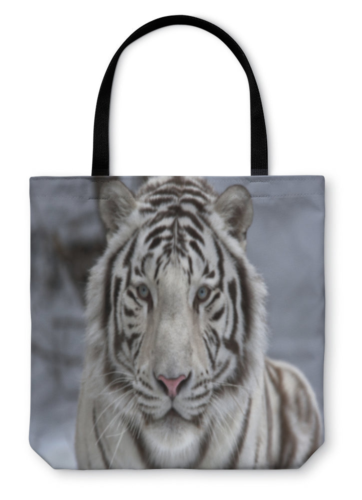 Tote Bag, Face To Face With White Bengal Tiger