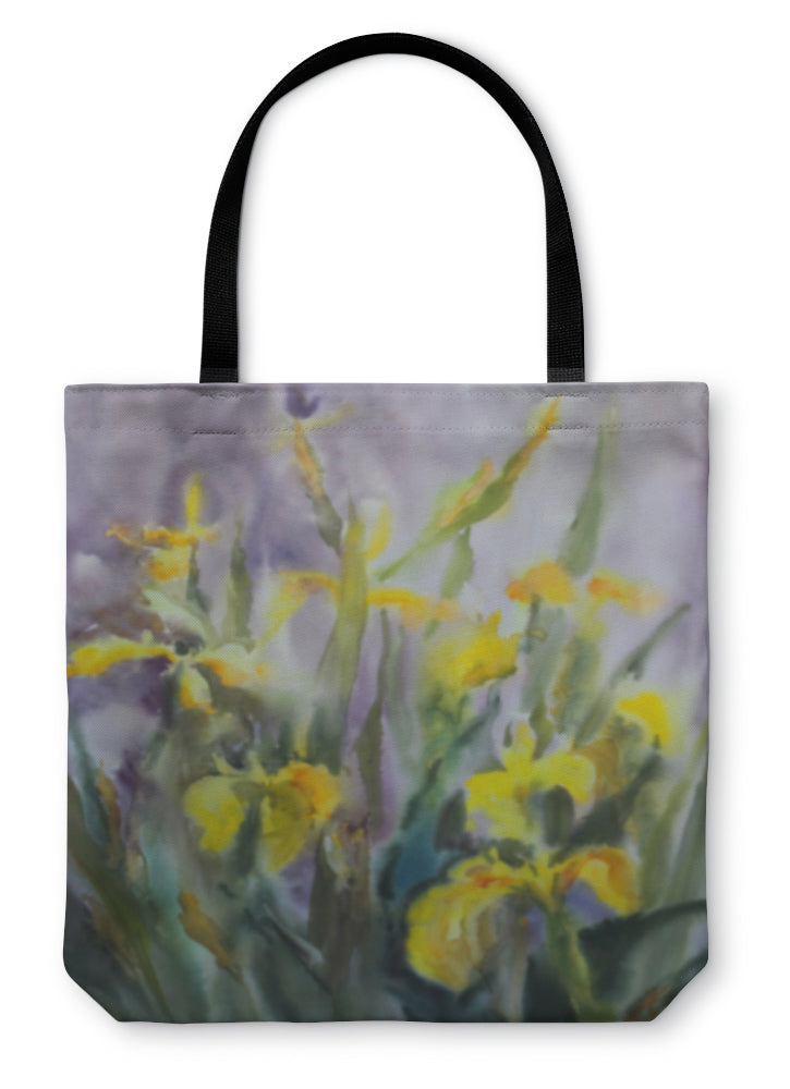 Tote Bag, Watercolor Painting Of The Yellow Iris Flowers