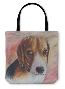 Tote Bag, Painting Of Beagle Portrait On Canvas