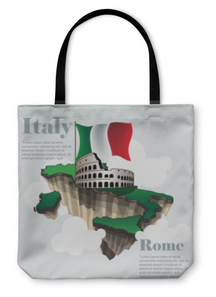 Tote Bag, Italy Country Infographic Map In 3d With Country Shape Flying In The Sky With